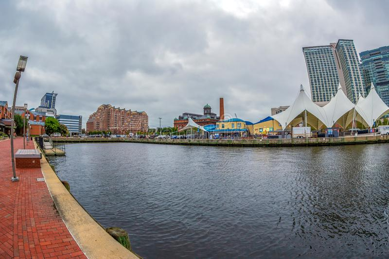 The Waterfront Promenade at the Inner Harbor with large angle view of Potapsco river royalty free stock images