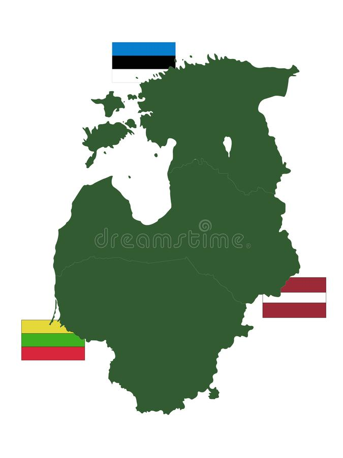 Baltisk landsöversikt med flaggor - baltiska stater, baltiska republiker, baltiska nationer eller enkelt Balticsna stock illustrationer