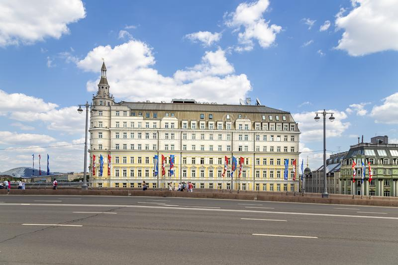 Baltschug Kempinski hotel on Balchug street in Moscow, Russia. Baltschug Kempinski is one of the best Moscow hotels stock photos