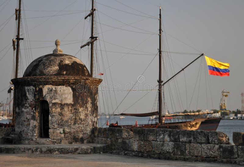 Baluarte de旧金山本营巴洛克式的岗亭监视卡塔赫钠de Indias哥伦比亚南美洲 库存照片