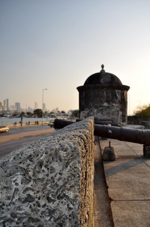 Baluarte de旧金山本营巴洛克式的岗亭监视卡塔赫钠de Indias哥伦比亚南美洲 免版税图库摄影
