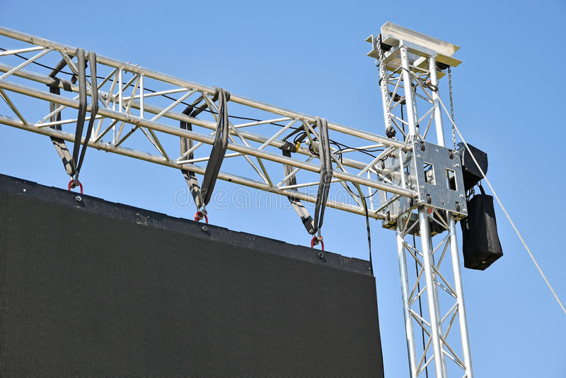 Baluster av en stor LEDD skärm arkivbilder