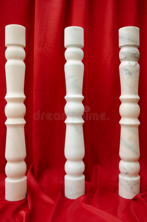 Balusters made of White Marble from Ruschita quarries in Romania royalty free stock photos
