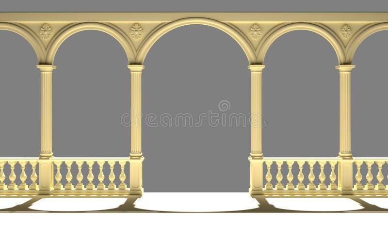 Balustrad med kolonner, bågar och tolkningen för stuckatur 3D fotografering för bildbyråer
