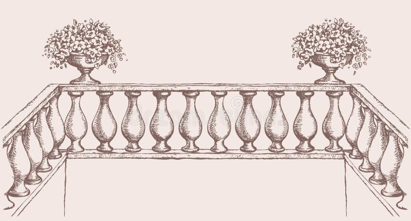 Balustrada z kwiatami w wazie rysuje tła trawy kwiecistego wektora royalty ilustracja