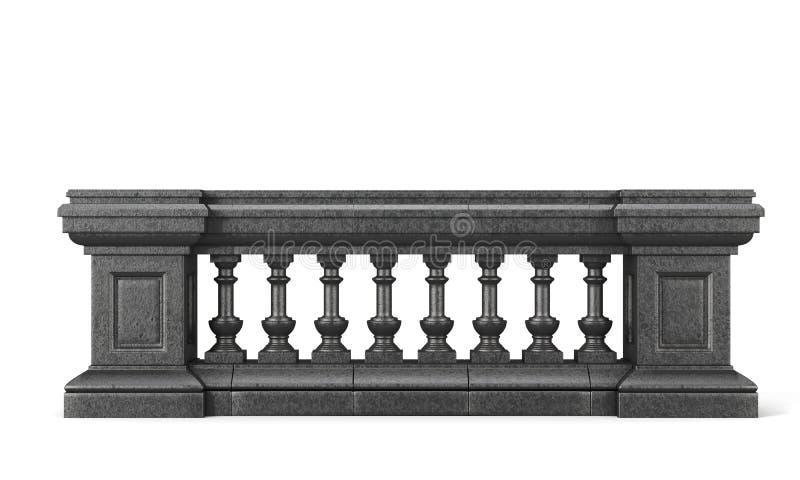 Balustrade de pierre de vue de face sur le fond blanc rendu 3d illustration stock