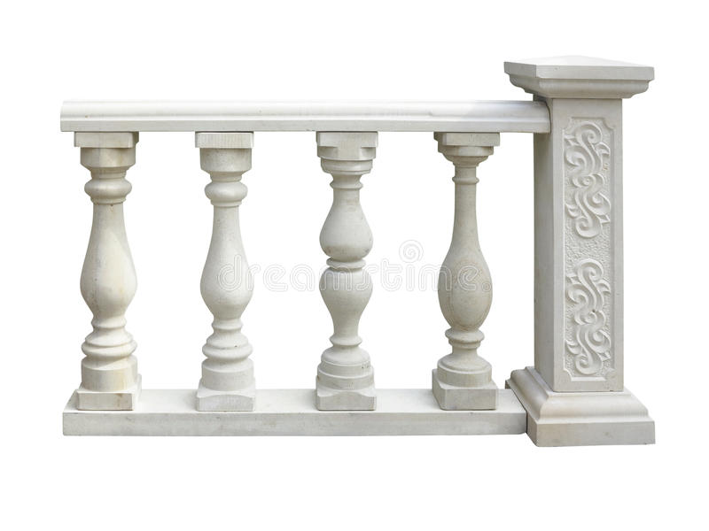 Balustrade en pierre classique avec la colonne d'isolement au-dessus du blanc image libre de droits