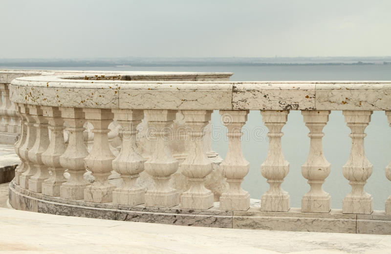 Balustrade and view for Tagus river stock images