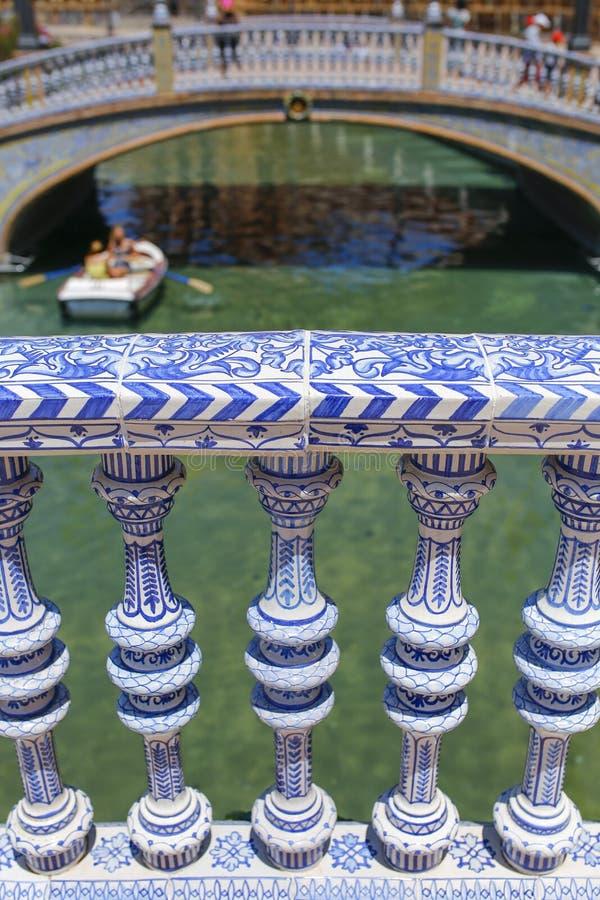 Balustres en céramique chez Plaza de Espana, Séville, Espagne photographie stock