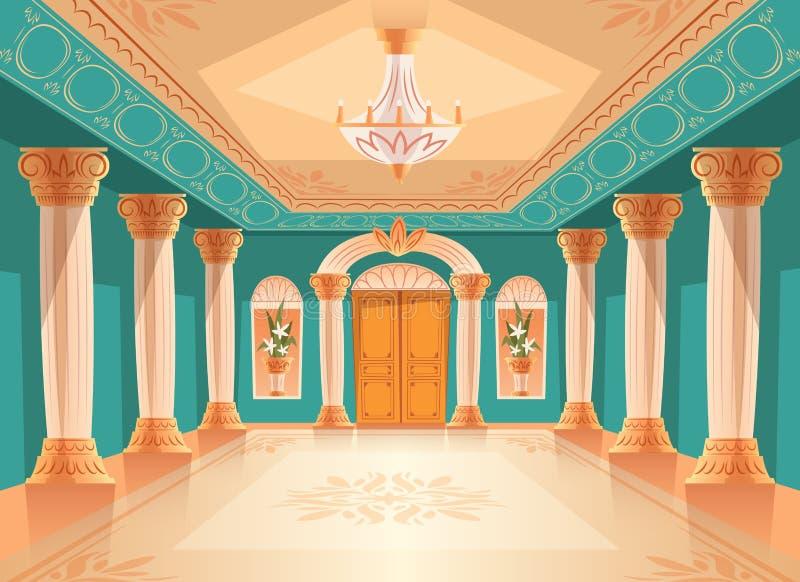 Balzaal of de koninklijke vectorillustratie van de paleiszaal vector illustratie