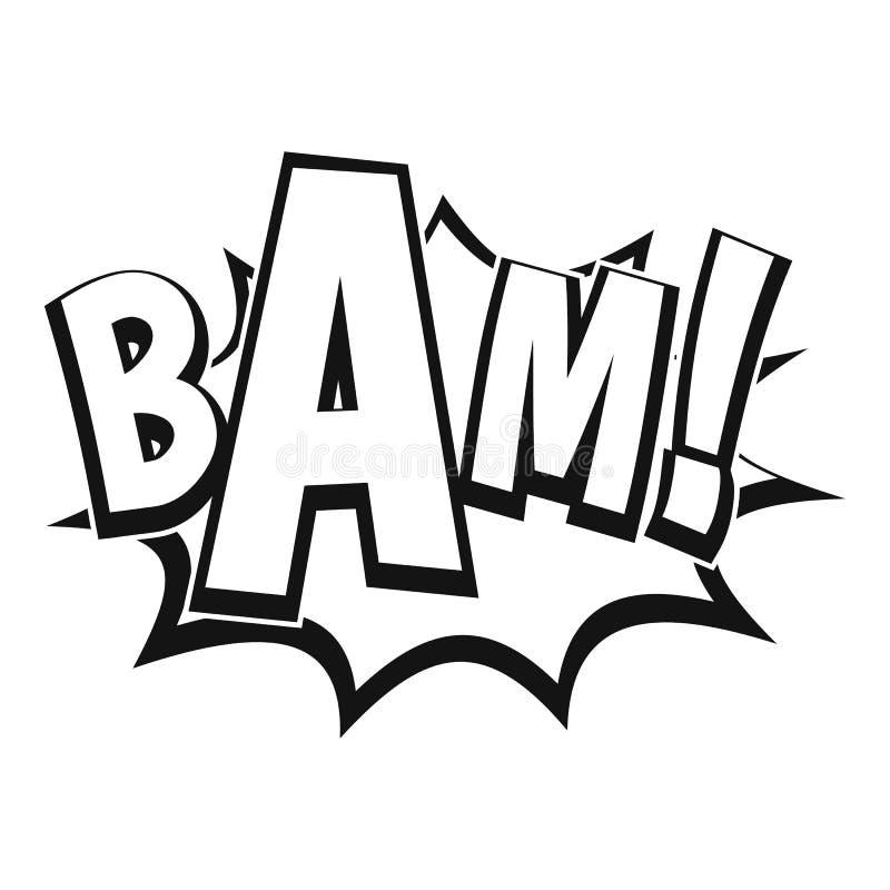BAM, ícone da bolha da banda desenhada, estilo simples ilustração stock