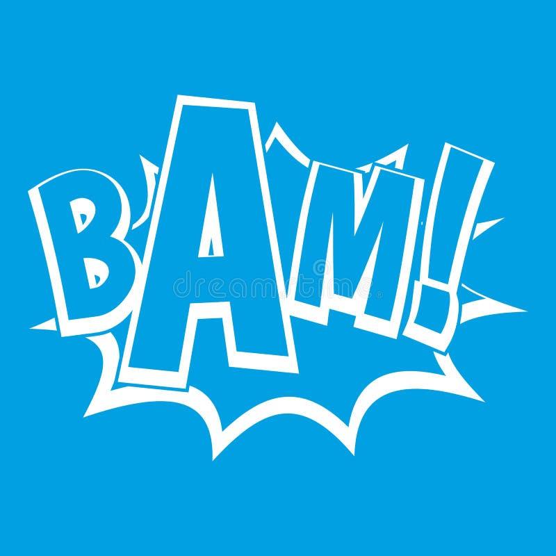 BAM, branco do ícone da bolha da banda desenhada ilustração do vetor