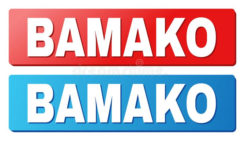 BAMAKO Caption on Blue and Red Rectangle Buttons. BAMAKO text on rounded rectangle buttons. Designed with white caption with shadow and blue and red button stock illustration