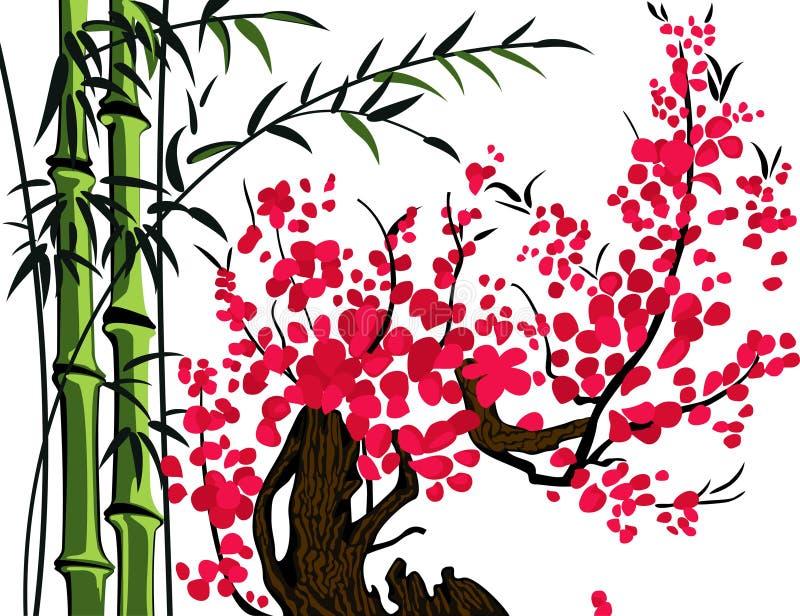Bambù e ciliegia illustrazione vettoriale