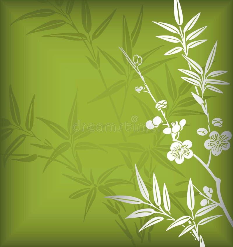 Bambù e fiore illustrazione vettoriale