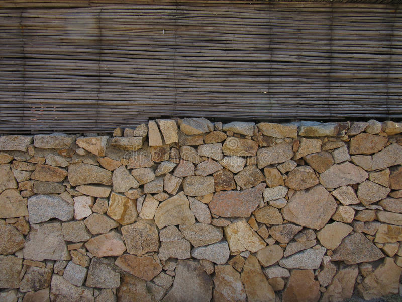 Bambù e parete della roccia immagine stock libera da diritti