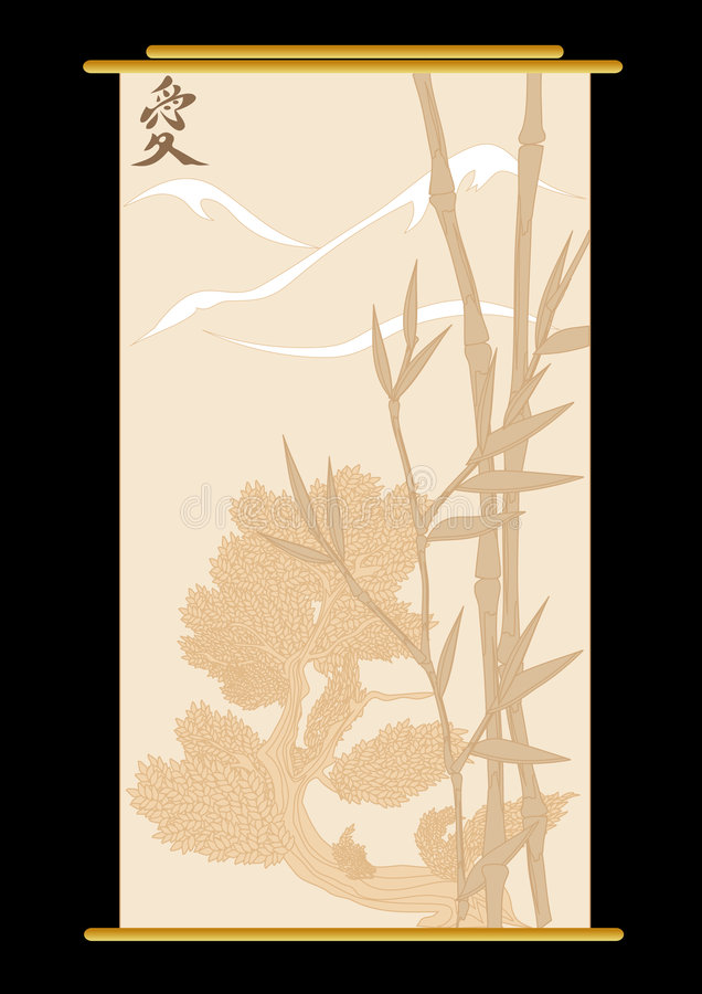 Bambù ed albero illustrazione vettoriale