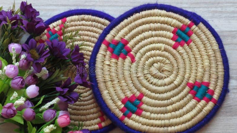 Bambú/Cane Trays tejidos hechos a mano hermosos imagen de archivo libre de regalías