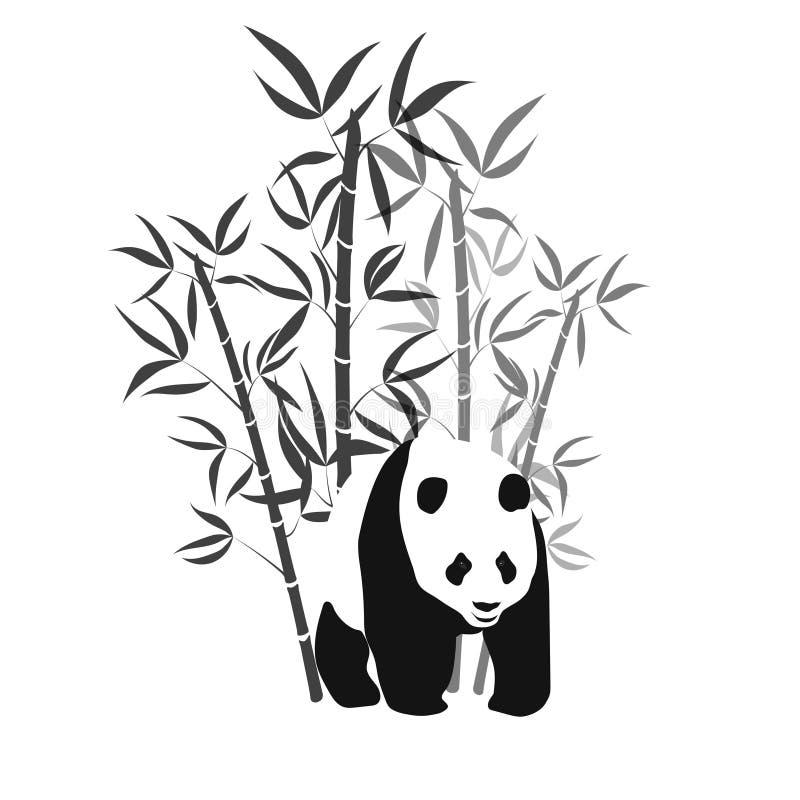 Bambú con el ejemplo blanco y negro del vector de la panda gigante ilustración del vector