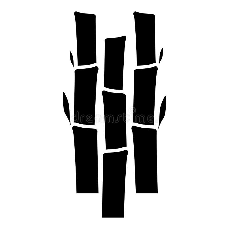 Bambú con imagen plana del estilo del ejemplo del vector del color del negro del icono de la planta de la naturaleza de las hojas ilustración del vector