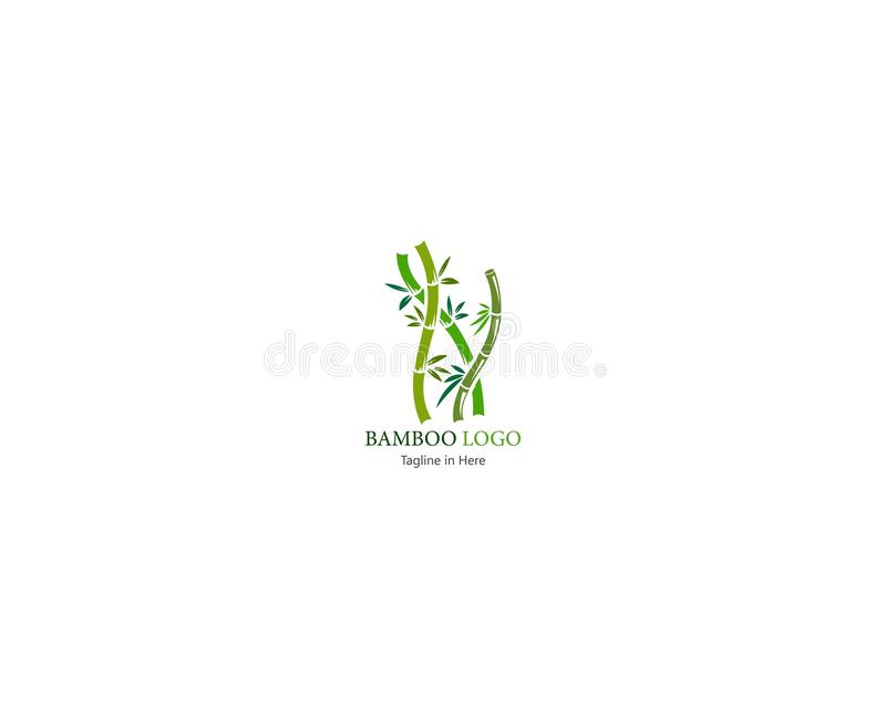 Bambú con la plantilla inspirated concepto verde del logotipo de la hoja ilustración del vector