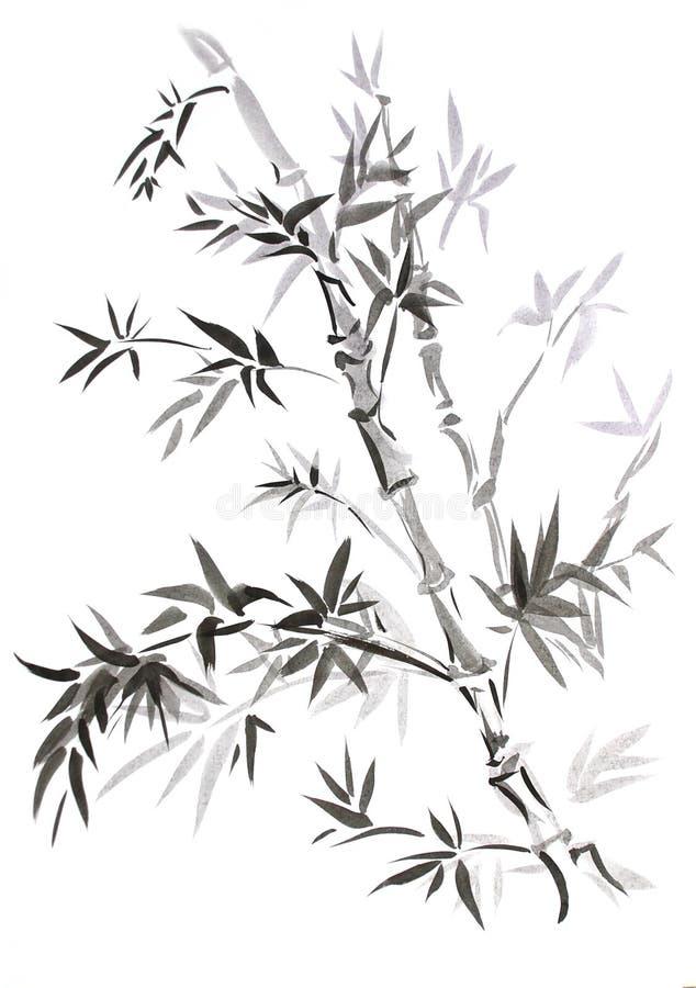 Bambú, drenado en estilo del este ilustración del vector