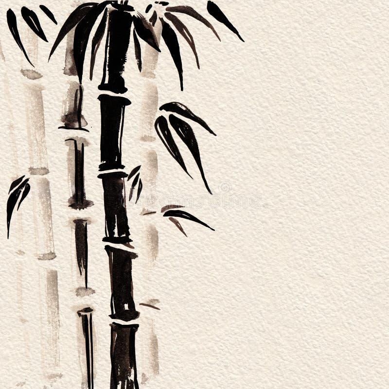 Bambú en estilo chino Ejemplo de la pintura de la mano de la acuarela libre illustration