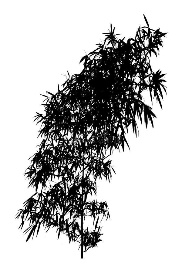 Bambú Siluetas negras aisladas del árbol en el fondo blanco libre illustration