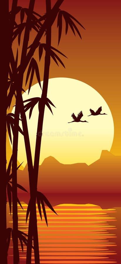 Bambú y puesta del sol stock de ilustración
