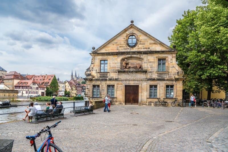 Bamberg, Alemania Fachada de la casa de Schlachte - el viejo matadero (1741-42), situada en los bancos del Regnitz imágenes de archivo libres de regalías