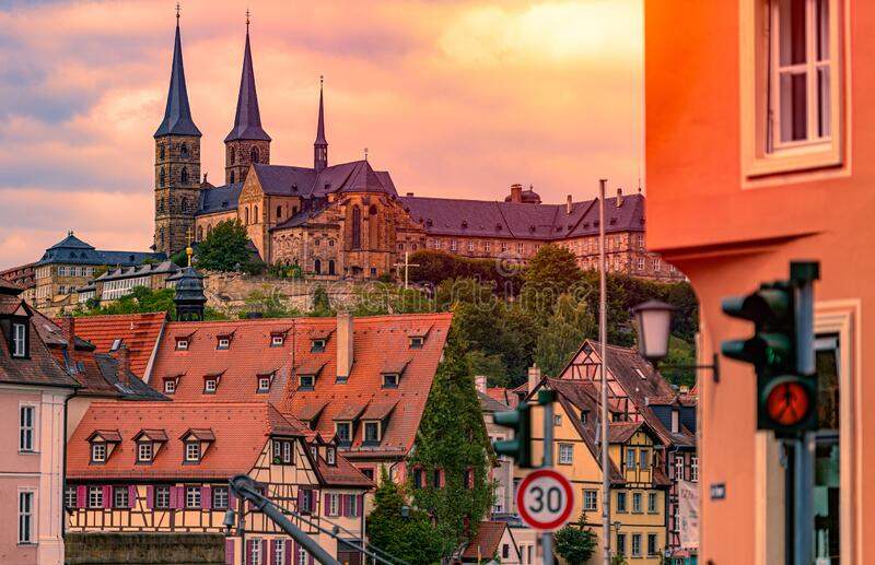 Bamberg city in Germany. Cathedral in background stock image