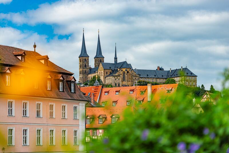 Bamberg city in Germany. Cathedral in background stock photography