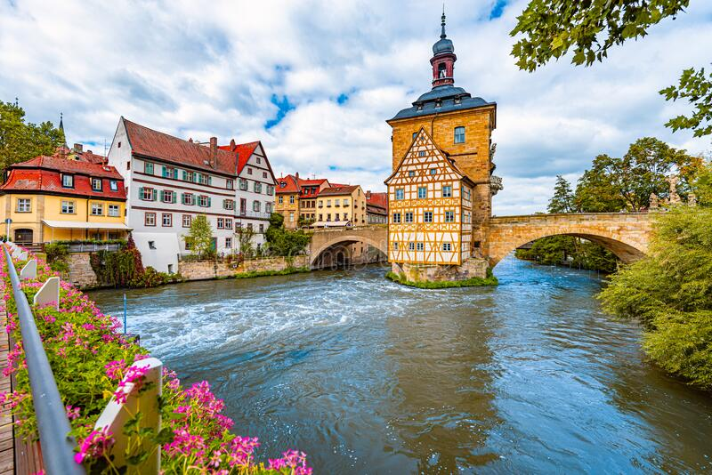 Bamberg city in Germany. Town hall building royalty free stock image