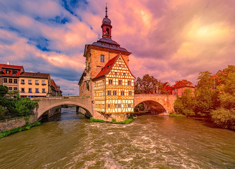 Bamberg city in Germany. Town hall building stock photography
