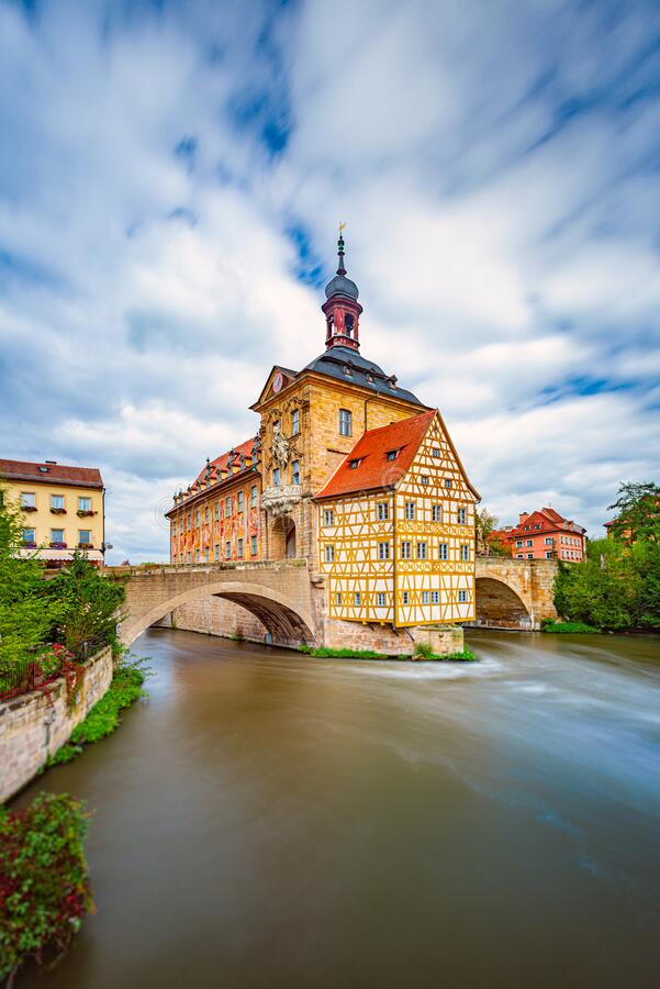 Bamberg city in Germany. Town hall building royalty free stock photos