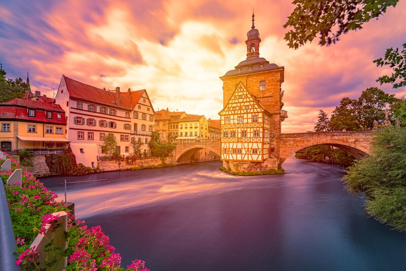 Bamberg city in Germany. Town hall building stock photo