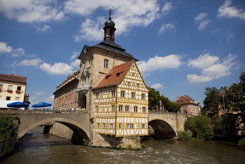 Bamberg in Germany. House on the bridge in Bamberg in Germany stock photo