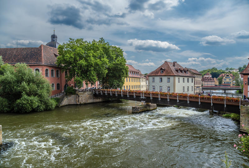 Bamberg, Germany. Castle Geyerswoerth and picturesque old houses in the island part of the city stock images