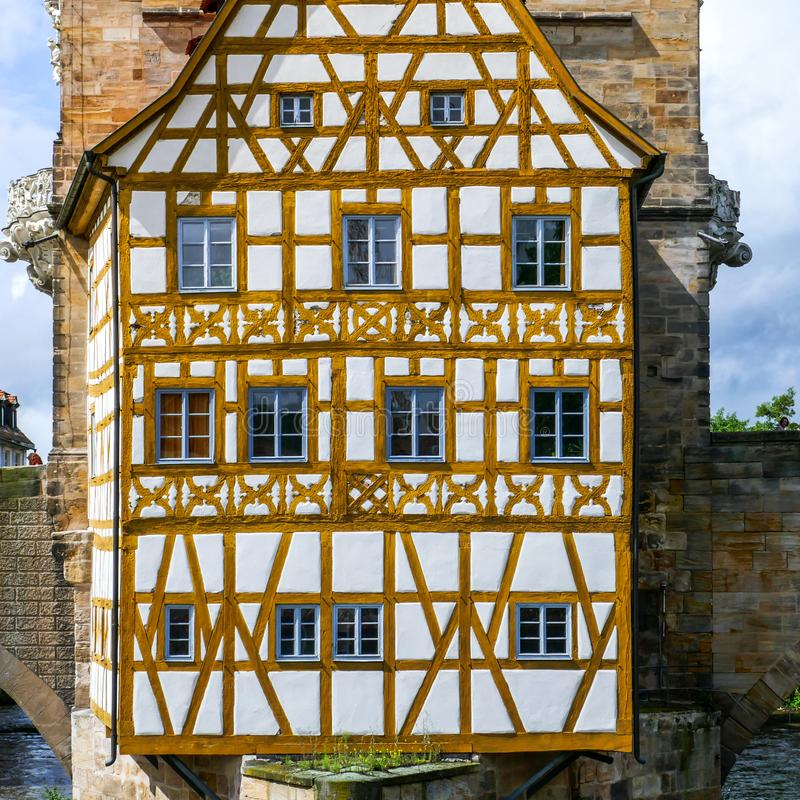BAMBERG, Germany: Famous Medieval Town of Bamberg in Bavaria Franconia Typical Old timbered House on the River royalty free stock photography