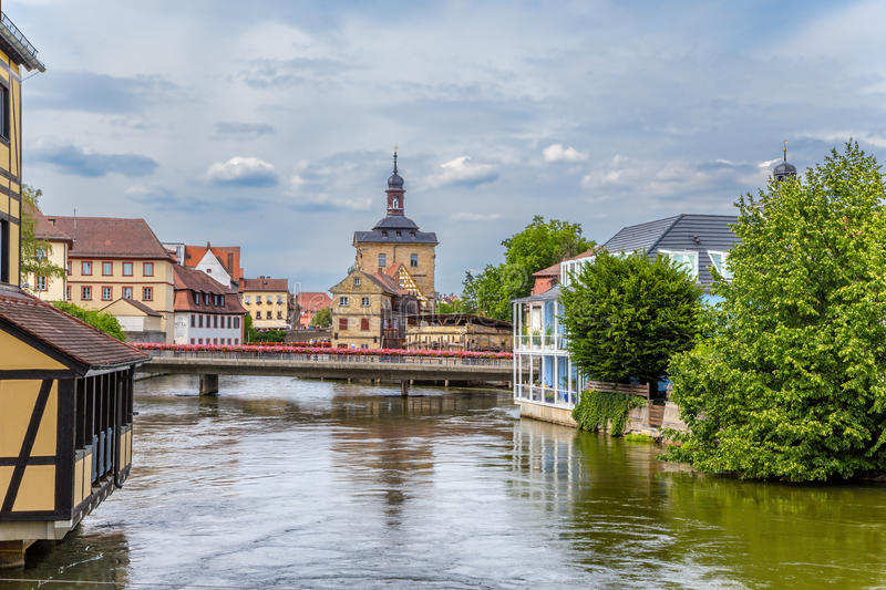 Bamberg, Germany. A scenic view of the Regnitz river stock photography
