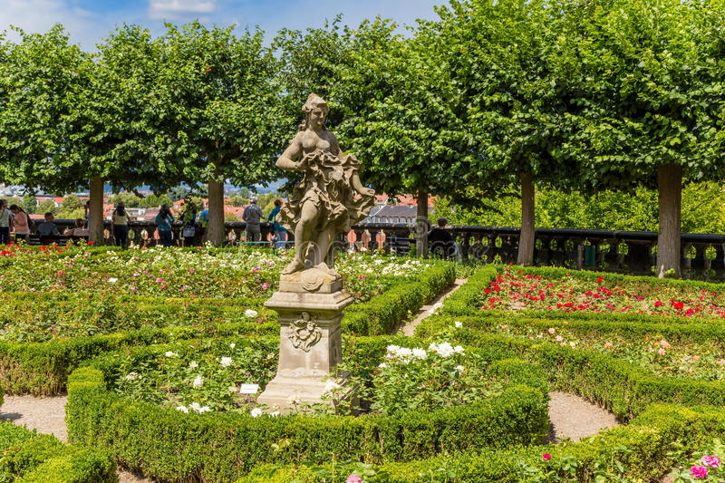 Bamberg, Germany. Sculpture by Ferdinand Tietz in the rose garden of the New Residence (XVIII century). Bamberg - a city of district subordination in Bavaria stock photos