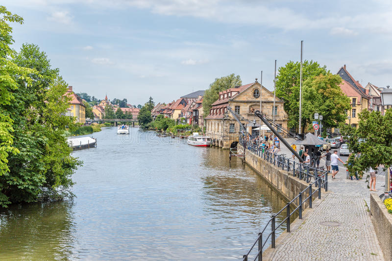 Bamberg, Germany. View embankment Am Cranen. In the background, the Little Venice district stock images