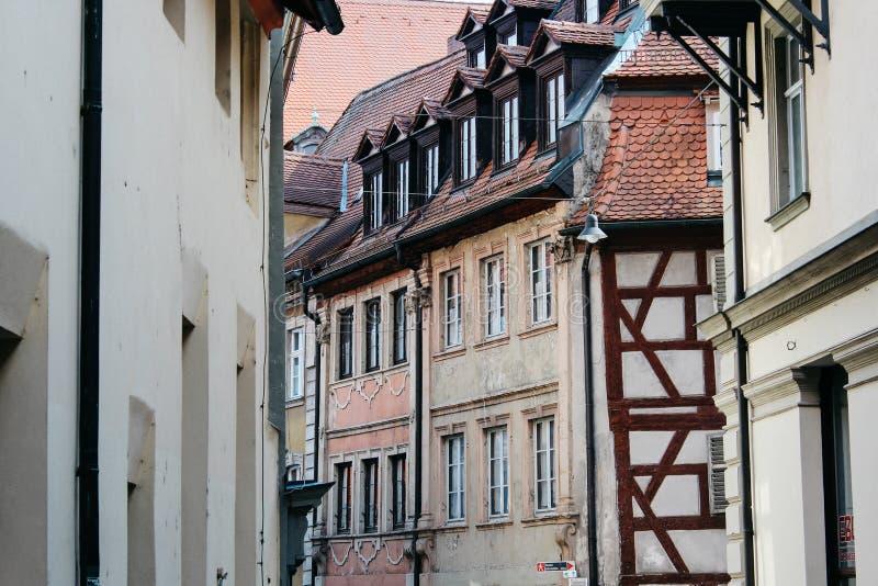 Bamberg, Niemcy - 04 01 2013: widoki ulicy Bamberg w pogodnej pogodzie obrazy stock