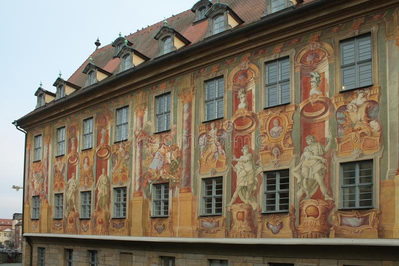 Bamberg Town Hall Frescoes. Bamberg Altes Rathaus frescoes, Germany stock photography