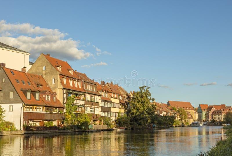 Bamberga, distretto di Klein-Venedig sul fiume di Regnitz fotografie stock