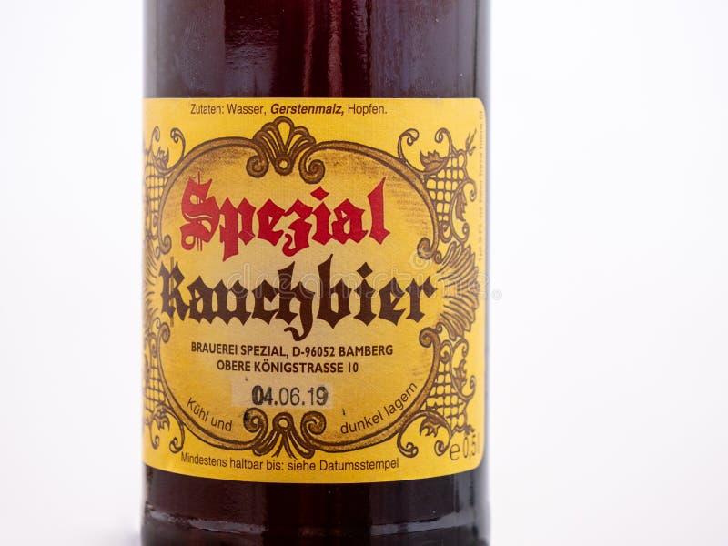 Bamberga fumou a cerveja da cervejaria famosa de Spezial em Bamberga, Baviera, Alemanha imagem de stock