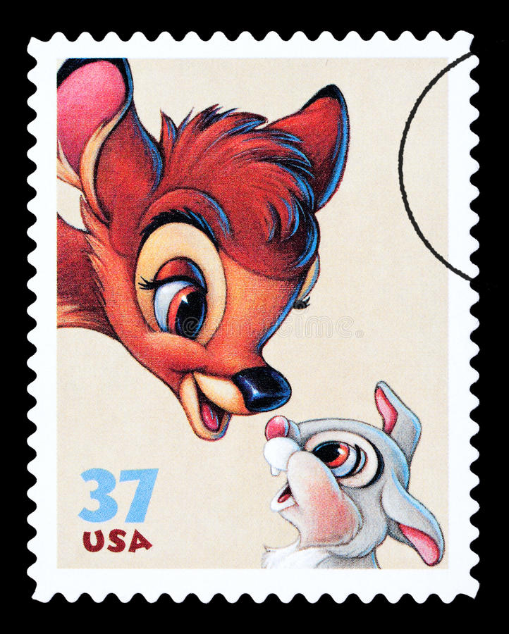 Bambi Postage Stamp. UNITED STATES AMERICA - CIRCA 2004: A postage stamp printed in the USA showing the Disney character Bambi, circa 2004