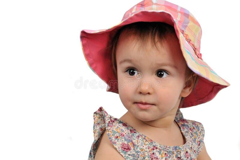 Bambina adorabile che porta il Panama fotografia stock
