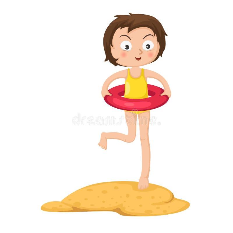 Bambina adorabile con l'anello gonfiabile illustrazione di stock