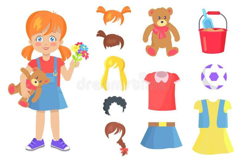 Bambina adorabile con Teddy Bear ed i fiori illustrazione vettoriale